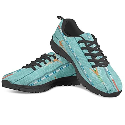 HUGS IDEA Scarpe da ginnastica per donne e uomini antiscivolo scarpe da tennis casual Air scarpe da infermiera, leopardo fiore fumetto, 1swimming Uomo Nero, 46 EU