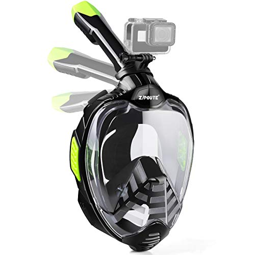 ZIPOUTE Snorkel Mask Full Face, Foldable Full Face Snorkel Mask with Detachable Camera Mount and Earplugs, 180 Panoramic View Anti-Fog Anti-Leak Snorkeling Mask for Adults (Black Ver2, L/XL)