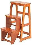 Silla for Adultos Madera sólida Escalera de heces Grueso Escalera Plegable del Asiento Doble Uso de Alta Tres Pasos Escaleras Ascend heces Estante de Almacenamiento