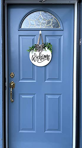 Spring Welcome Sign For Front Door Decor- Front Porch Decor_ Farmhouse welcome wreaths for front door sign - 12 x 12 inch welcome home decorations - Rustic Farmhouse home decor- wooden welcome sign