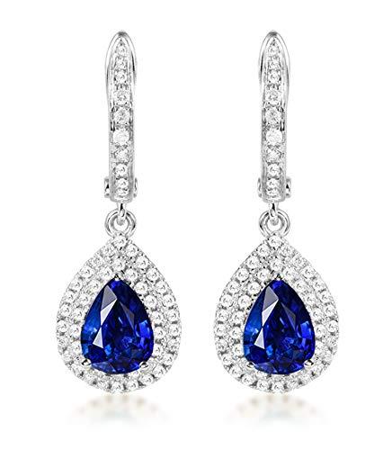 Pendientes de Turmalina Diamantes de 2ct Blisfille Joyería Colgante Mujer Negro Pendientes Cadena Pendientes de 18K Oro
