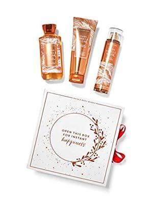 Bath & Body Works Warm Vanilla Sugar Gift Box Set - Body Cream, Fragrance Mist & Shower Gel, Full Size
