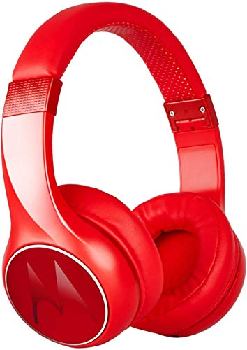 Motorola Escape 220 Over-The-Ear Bluetooth Wireless Headphones - HD Sound, Built-in Microphone, 23-Hour Play Time, Noise Isolation - Foldable & Compact - Red