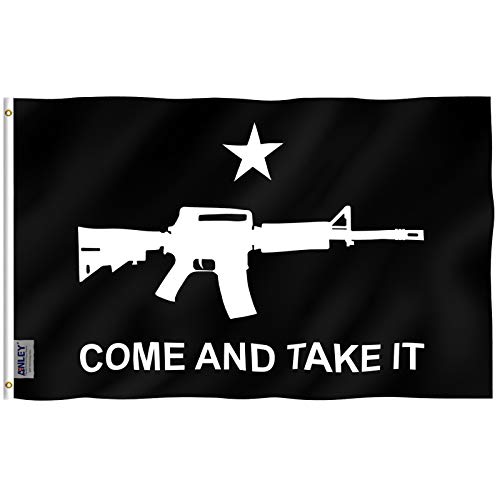 Anley Fly Breeze 3x5 Foot M-4 Gonzales Come and Take It Flag - Vivid Color and Fade Proof - Canvas Header and Double Stitched - M4 Carbine Flags Polyester with Brass Grommets 3 X 5 Ft (Black)