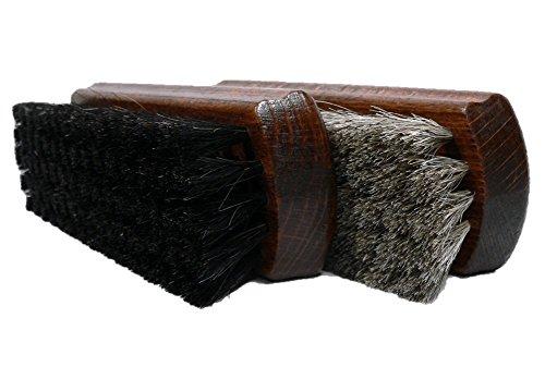 Valentino Garemi Schuh-Polierbürsten Set - Alle Lederschuhe - Glanzpolitur - Echte Rosshaarborsten Holzgriff Made in Germany