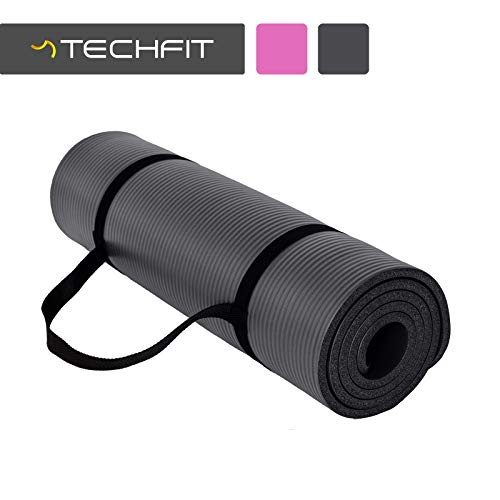 TechFit Colchón para Yoga y Fitness, Espesor Extra de 10 mm, 180 x 60 cm, Ideal para Ejercicios en el Suelo, Gimnasia, Camping, Estiramientos, Abdómenes, Pilates (Negro)