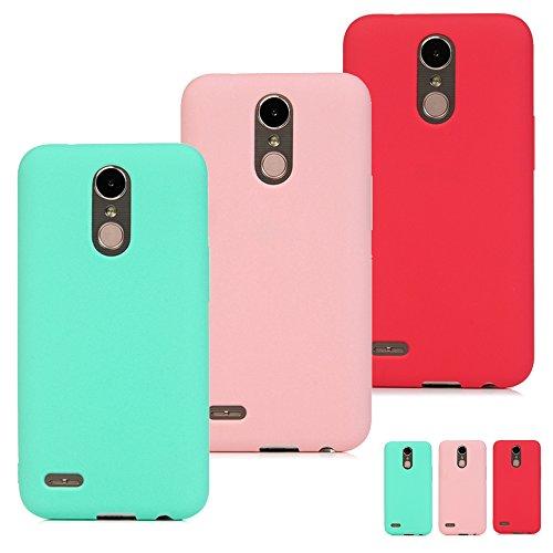SUPWALL 3 Unidades Funda Silicona para LG K10 2017, Flexible Cascara Ultrafina Suave, Case Anti-Rasguño y Resistente Huellas, Premium Gel TPU Cover Goma - Menta Verde + Rosa + Rojo
