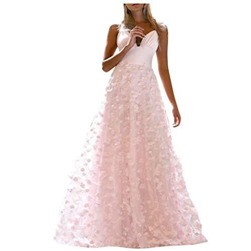 ZHANSANFM Abendkleider Damen Sexy V-Ausschnitt Trägerkleid Bodenlanges Festlich Partykleid Einfarbige Elegant Swing Kleid Hochzeitskleid lang Abschlusskleider Ballkleid (S, Rosa)