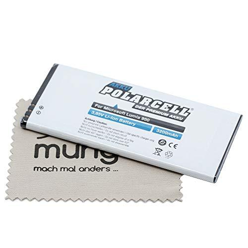 Batería de Repuesto para Microsoft Lumia 950 (Equivalente a batería Original BV-T5E) con paño de Limpieza mungoo