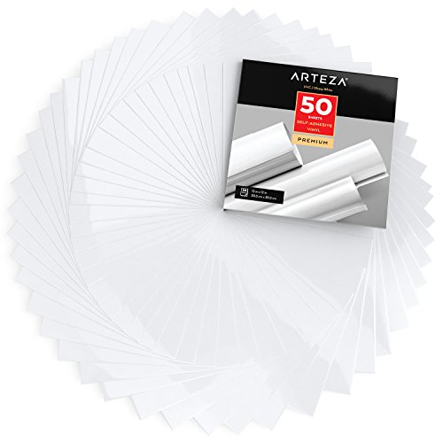 Arteza Láminas de vinilo adhesivo | Color blanco brillante | 50 hojas de pvc de 30,5 x 30,5cm | Vinilos impermeables para interiores y exteriores | Compatibles con otras máquinas de corte
