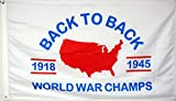 Derberha World War Champs Back to Back Flag Banner 3x5Feet Man Cave Decor