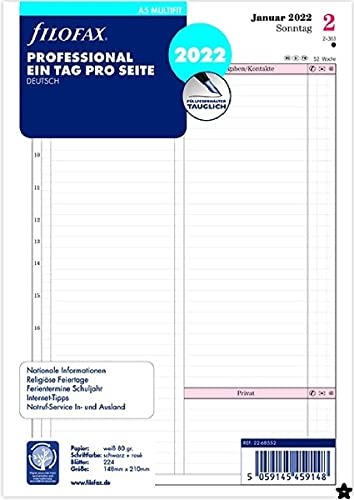 Filofax A5 Prof.1 Tag pro Seite (deutsch)2022, 22-68552