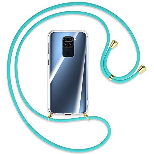 mtb more energy® Collar Smartphone para Xiaomi Redmi Note 9, Redmi 10X 4G (6.53'') - Turquesa/Oro - Funda Protectora ponible - Carcasa Anti Shock con Correa para Hombro