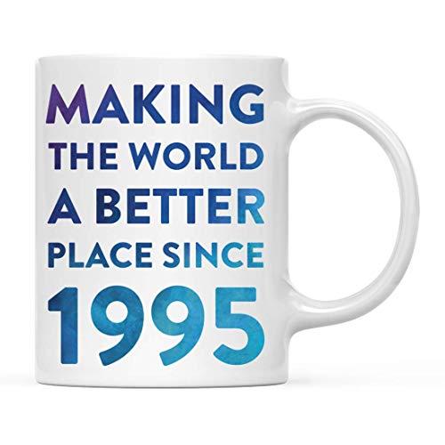 Regalo de Taza de café con hito de cumpleaños, Haciendo del Mundo un Lugar Mejor Desde 1995, Acuarela Azul, 21, 22, 23, 24, cumpleaños, Aniversario 11 oz