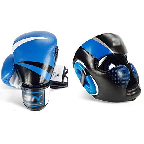 Boxhandschuhen und Kopfschutz, PU-Karate Muay Thai Kick UFC Boxsack Training Box mit Boxen Kopfschutz Besser zu schützen Sie Sich ZONGKEJIDZ (Color : Blue, Size : 10oz)
