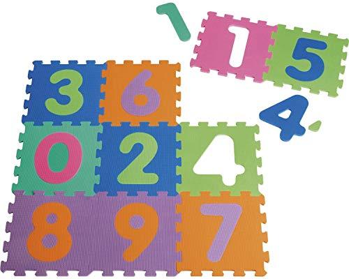 Playshoes 308744 - Puzzlematte für Babys und Kinder, Zahlen 0-9, Spielmatte Spielteppich, Schaumstoffmatte, 10-teilig