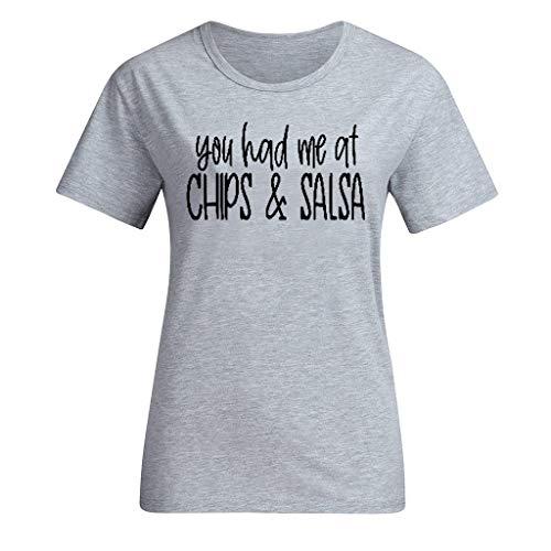 Xmiral Damen Bluse Tops Buchstabe Drucken Kurzarmshirt Einfach Rundkragen T-Shirt Atmungsaktiv Slim Fit Wild Lässig Sweathshirt(c Grau,S)