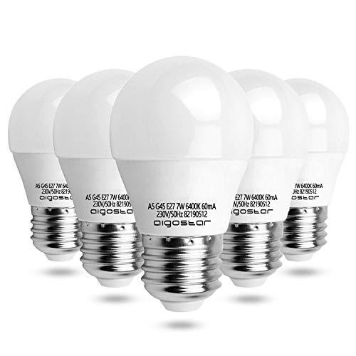 Aigostar - Lampadina LED E27 7W, Luce Bianca Fredda 6400K 560 Lumen, Mini Globo, Non Dimmerabile, Confezione da 5 [Classe di efficienza energetica A+]
