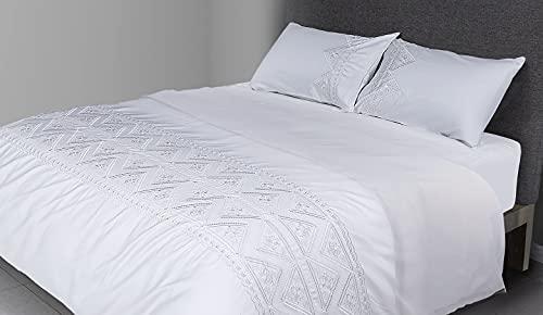 FLAX LINEN - Juego de funda de edredón de 4 piezas, diseño de triangular, 400 hilos de algodón egipcio orgánico, incluye 1 funda de edredón + 1 sábana bajera + 2 fundas de almohada, color blanco