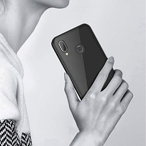 CE-Link Huawei Nova 3 Hülle Glas mit Magnetisch Panzerglas Durchsichtig Handyhülle Transparent Ultra Slim Dünn 360 Grad Schutzhülle Bumper Schutz - Schwarz - 6