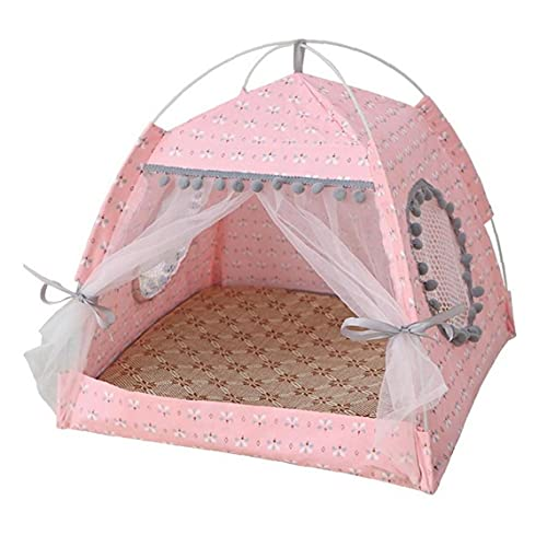 Pet Tent Bed Pet Teepee Dog Cat Letto Cat Letto con Tenda Pet Bed Bed House Cat Tenda Tenda Cave Letto Caverna, Pieghevole portatile Pieghevole PET House Cat Letto rosa XL