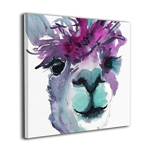 Amonee 20'x20' Canvas Wall Art Print Purple Teal Grey Alpaca Llama Framed Canvas Pictures Prints Contemporary Artwork Ready to Hang for Home Decoration Wall Decor