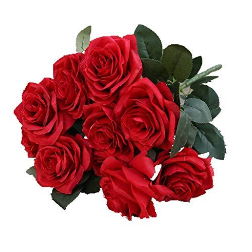 ZHFEL Artificial Rosa Bouquet, Boda Bouquet Inicio Decoracion Falsas Flores Suministros para Fiestas por Aniversario Cumpleaños Dia De San Valentin Dia De La Madre Regalo-A