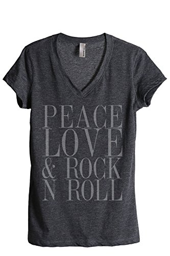 Thread Tank Peace Love and Rock 'N Roll Women's Fashion Relaxed V-Neck T-Shirt Tee Charcoal Large