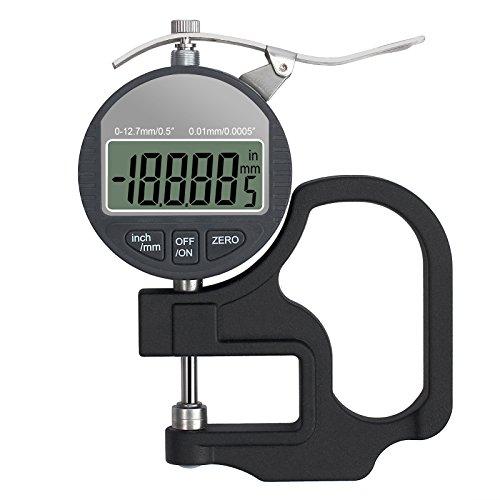 Neoteck Espesor Digital Rango 0-12.7mm/0.0005-0.5inch Medidor de grosor portátil electrónico con Pantalla LCD Para Cuero Papel Telas Cable
