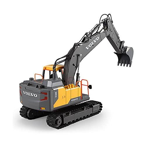 RC Excavator 3 en 1 Truco de construcción Pala de metal y taladro 17 canal 1/16 Escala completa Funcional con 2 herramientas de bonificación Control de control remoto eléctrico hidráulico Tractor de c