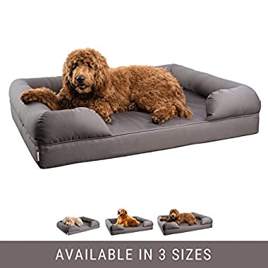 Petlo Orthopedic Pet Sofa Bed - Dog, Cat or Puppy Memory Foam Mattress Comfortable Couch For Pets With Removable Washable Cover (XL - 46  x 36  x 10 , Grey)
