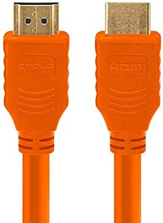 Cmple - HDMI Cable 3FT High Speed HDTV Ultra-HD (UHD) 3D, 4K @60Hz,18Gbps 28AWG HDMI Cord Audio Return 3 Feet Orange