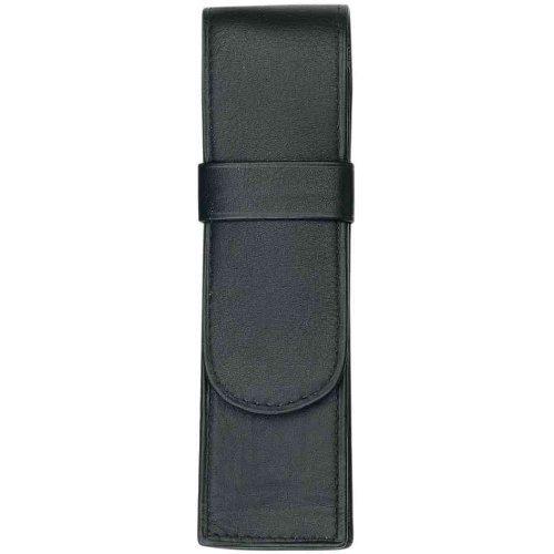 Alassio 2610 - Schreibgeräteetui aus echtem Leder, Etui in schwarz, Stiftetui ca. 14 x 4,5 x 2,5 cm, Lederetui für 2 Stifte