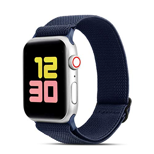 FITWORTH Adjustable Stretchy Nylon Watch Band Compatible with Apple Watch 38mm 40mm, iWatch Series 6 SE 5 4 3, Ultra Soft, Light & Breathable, Suit for Men's Women's Sports & Workout (38/40, Navy)