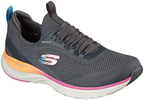 Skechers Womens Ultra Groove - Oh So Light Sneaker, Charcoal, Size 5.5