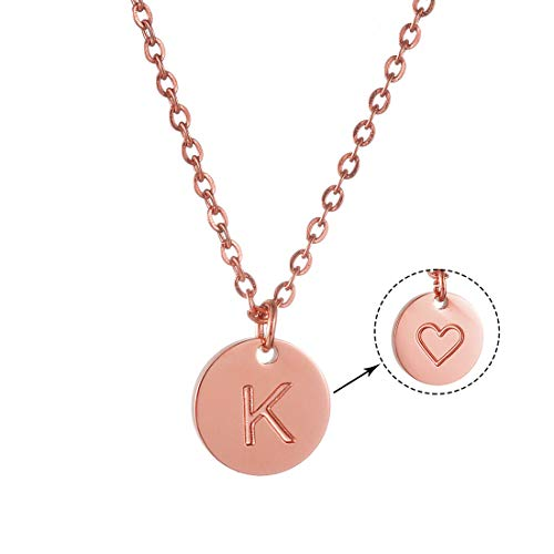 AFSTALR Initial Letter Necklace Women Engraved Rose Gold Heart Personalized Name Dainty Handmade Cute Round Tiny Pendant Necklaces Jewellry Gift for Women Girls Alphabet K Rose Gold