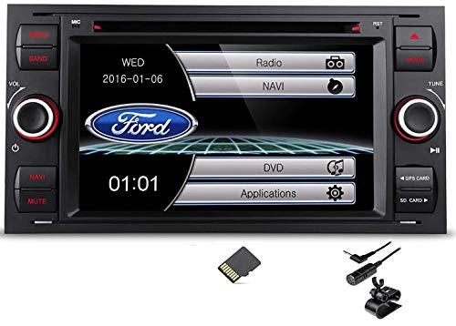 Radio para el coche con pantalla digital de 7 pulgadas, Doble DIN, DVD, USB, BPS, Bluetooth, a medida para Ford Focus C-Max, S-Max, Transit, Fiesta, Galaxy, Kuga, color negro