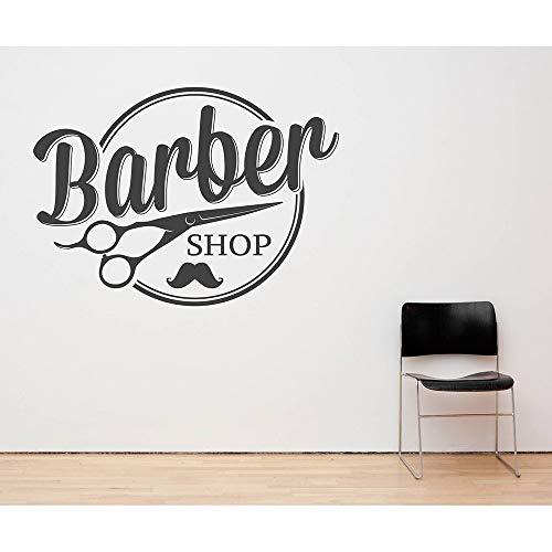 Ajcwhml Barber Shop Wand Fenster Dekoration Applique abnehmbare Moderne Wand Vinyl Aufkleber Friseur Schere Kunst Aufkleber Tapete Poster