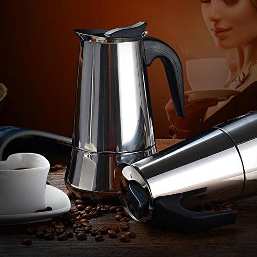 Cafetera inducción espressos en Acero inoxidable 350ml, (6tazas), se puede usas en todo tipo de cocina, incluida de inducción, Cafetera Clásica, Plata