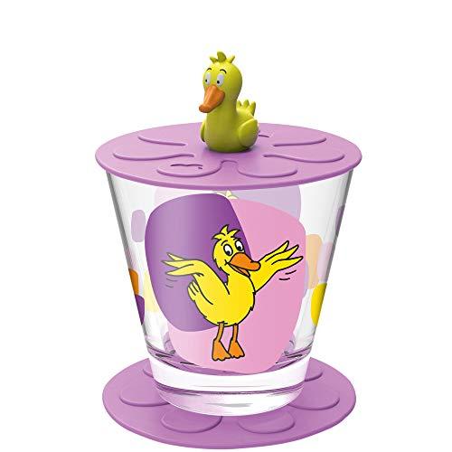 Leonardo 21456 Bambini 021456-Juego de Vasos Infantiles (1 Unidad, Apto para lavavajillas, con Tapa, sin BPA, 3 Piezas, 215 ml), diseño de Pato, Cristal