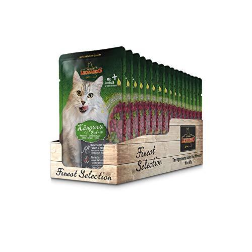 Leonardo Frischebeutel [16x85g Känguru + Catnip] | Getreidefreies Nassfutter für Katzen | Feuchtfutter Alleinfutter im Einzelportionsbeutel