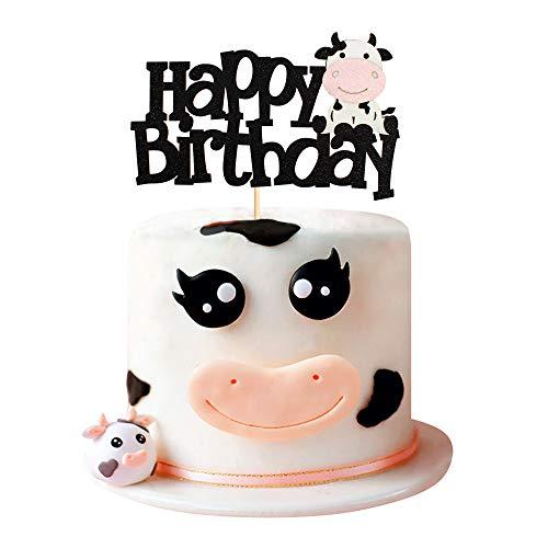 Tortenaufsatz mit Kuh-Motiv, Happy Birthday, Schild, Kuchendekoration für Kuh, Bauernhof, Tier, Zoo, Kinder, Jungen, Mädchen, Geburtstagsparty, Zubehör, doppelseitig, schwarz glitzernd, 1 Stück