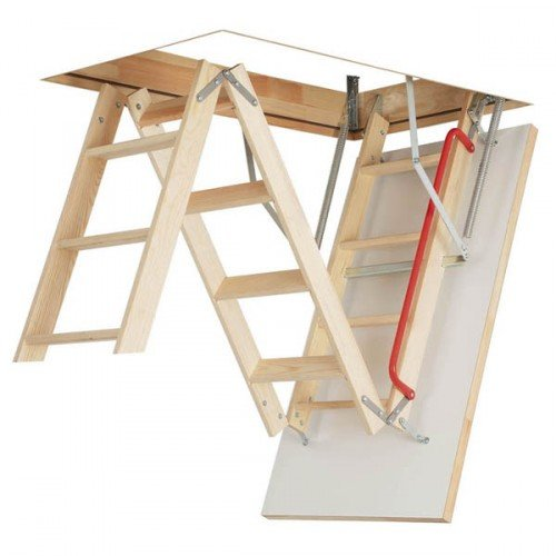 Optistep Wooden 3 Section Timber Folding Loft Ladder Attic Stairs. Frame...