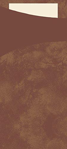 Duni 151849Sacchetto Besteck Taschen mit gefaltet Tissue Servietten Innen, 8,5cm x 19cm, kastanie Sacchetto und Creme Serviette (500Stück)