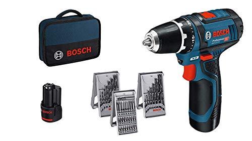 Bosch Professional GSR 12V-15 - Atornillador a batería (2 baterías x 2,0 Ah, 12V, set de 39 accesorios, en maletín de lona)