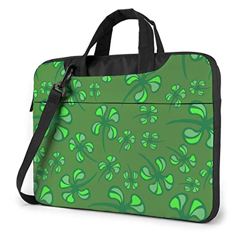 Hdadwy Adults Student Laptop Bag with 2 Pocket Protective Notebook Computer Protective Cover Anti-Collision Anti-Scratch Handbag for School College St Patrick S Day Seamless with Shamrock Clover 14inc