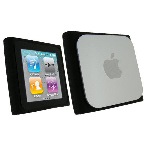 iGadgitz U0587 Silikon Schutzhülle Hülle Tasche Case Skin Kompatibel mit iPod Nano 6G 6. Gen Generation 8gb & 16gb + Display Schutzfolie - Schwarz