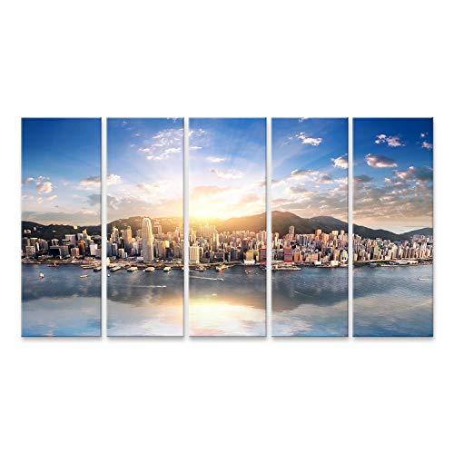 Cuadro en lienzo Vista del horizonte de la ciudad de Hong Kong...