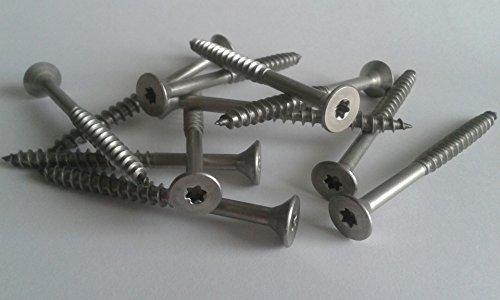 Packstatt - Tornillos avellanados 6,0x 120mm TX25,100unidades, acero inoxidable, JD-79, VA V2A, Torx, rosca parcial