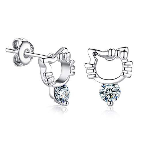 Wiftly Women's Simple Earrings Cute Kitten Crystal Stud Earrings Zircon Earrings